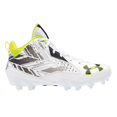 NEW Mens Under Armour Ripshot Mid MC Lacrosse Cleats White/Charcoal Choose Size