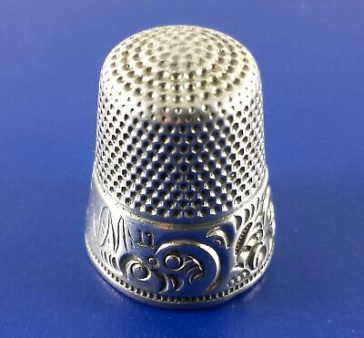 Vintage Sterling Silver Thimble 11 Stamed McK &D 6.8 Grams 18mm Dia. At Base