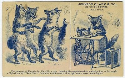 NEW HOME SEWING MACHINE Victorian Trade Card Animal FOX Sewing Johnson Clark Co