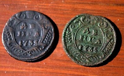 2 Very Old Russian Bronze Coins Dated 1700's LOT #16
