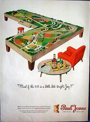 1946 Paul Jones Whiskey Model Train Table Chair Mind If The 5:15 Is Late ad