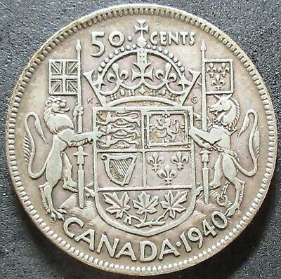 1940 Canada Silver Fifty Cent Coin