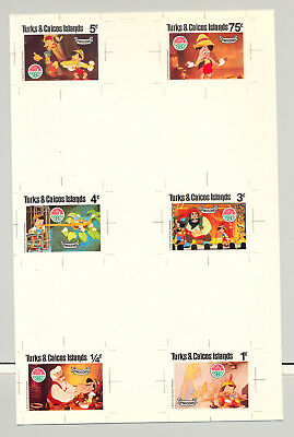 Turks & Caicos #442-451 Christmas, Disney 9v & 1v S/S Imperf Chromalin Proofs