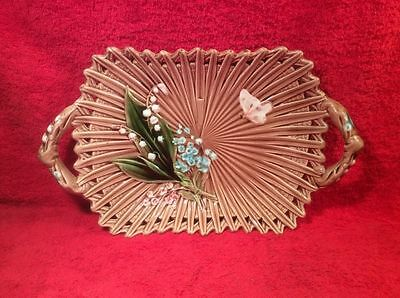 Antique German Majolica Butterfly & Lily of the Valley Platter c.1800's, gm401