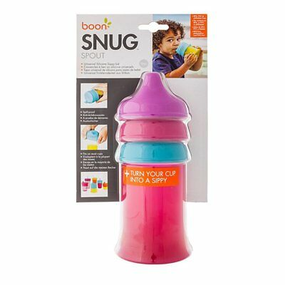 Boon Snug Spout Universal Silicone Sippy Lids and Cup - Pink/Red/Blue