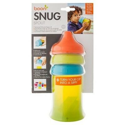 Boon Snug Spout Universal Silicone Sippy Lids and Cup - Blue/Green/Orange