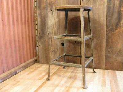 "Vintage Metal Industrial Factory 28"" Steel Stool Rustic"