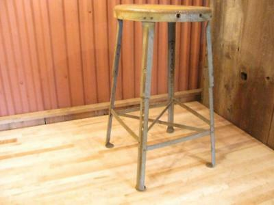 Vintage Metal Industrial Factory Adjustable Steel Stool Rustic Seat