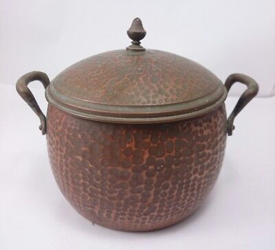 COPPER HAMMERED BEAN POT Vintage Handmade Cookware Brass Handle Kitchenware Art