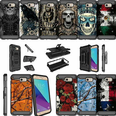 For Samsung Galaxy On7 | J7 Prime | J7 Halo Dual Layer Clip Stand Case Tough Art