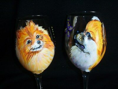 HP SET of 2 Pomeranian WINE GLASS GOBLET dog art painting hand painted Poms