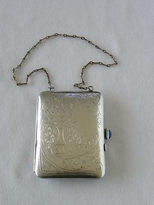 Antique German Silver Coin Purse Compact with Engraved Floral Design