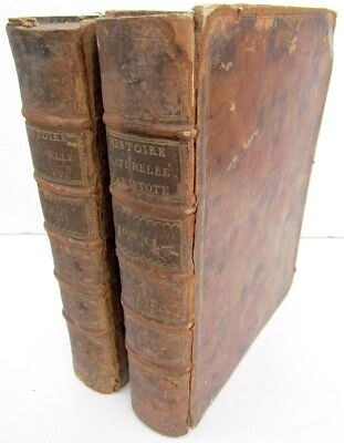 1783 HISTORY OF ANIMALS by ARISTOTLE  2 ANTIQUE LEATHER BOUND BOOKS