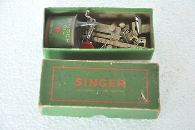 Vintage Boxed Singer Sewing Machine & Accessories Ad Litho Paper Box