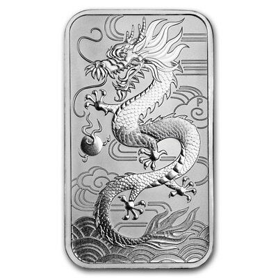 Perth Mint Argent 1 Once barre Dragon 2018