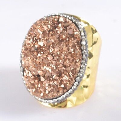 Size 6 Natural Agate Titanium Druzy Pave Zircon Ring Gold Plated B049710