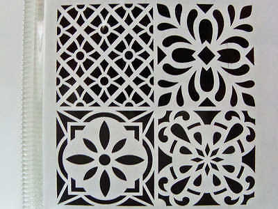 Pochoir Home déco mix 4 motifs Carreau ciment tous supports 30x30cm Artemio DIY