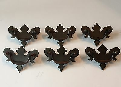 Vintage Antique Brass Metal Dresser Drawer Pulls Handles Batwing Set of 6