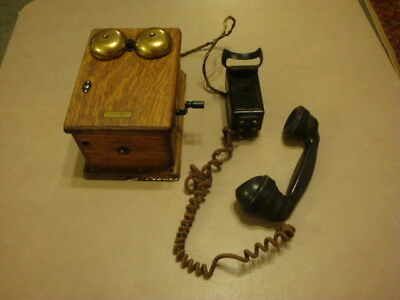 Antique Vintage Oak Wood Western Electric Wall TELEPHONE RINGER BOX Hand Crank
