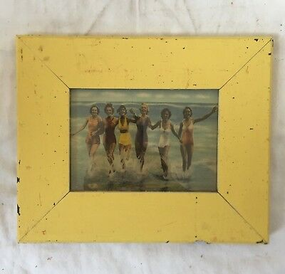 """1890's Reclaimed Wood Picture Frame 5"""" x 7"""" Shabby Wooden Chic Yellow 53-18"""