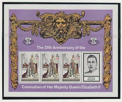 BRITISH ROYAL COLLECTION ~ TURKS & CAICOS  ~ SET of 4 S/S ~ 1978 QEII 25th Anniv