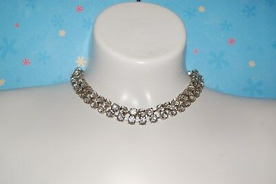 Gorgeous Sparkly Vintage Prong Set  Rhinestone Choker Necklace Two Rows
