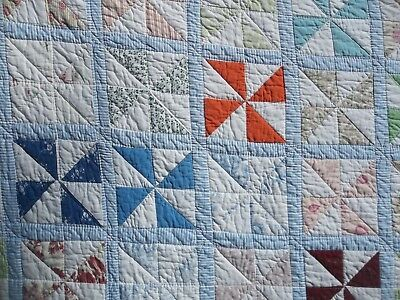 "Vintage Cotton Pinwheel Quilt 90"" x 92""  Blue & White Backing Lots of Quilting"