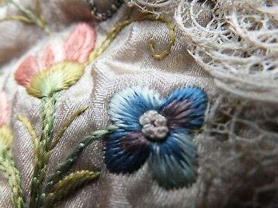 Delectable 18th Century embroidered violets baby cap, perfect for Georgian doll