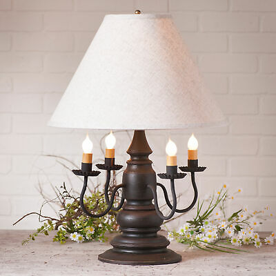 """3-Way COLONIAL TABLE LAMP & 17"""" Ivory Linen Shade - Distressed Black Finish USA"""