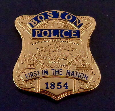 Boston MA Massachusetts Police GOLD Mini Badge Lapel Pin FIRST IN AMERICA 1854