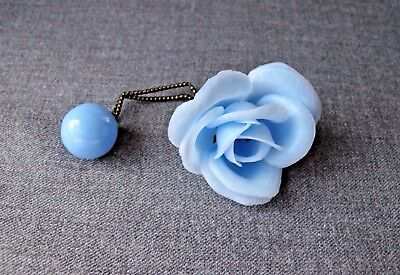 Vintage Nice Design Sky Blue Plastic Large  Flower Pony Tail Hair Band Unused B