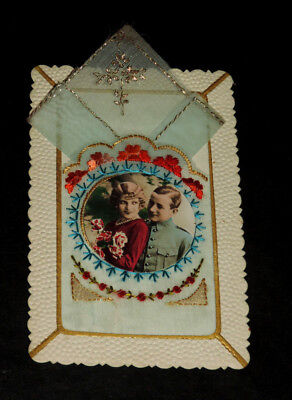 CP ancienne carte postale soie brodée Embroidered silk  MILITAIRE MOUCHOIR BRODE