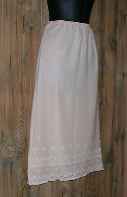 Vtg Val Mode Half Dress Slip Sz S Double Layer Lined Ivory Embroidered Chiffon