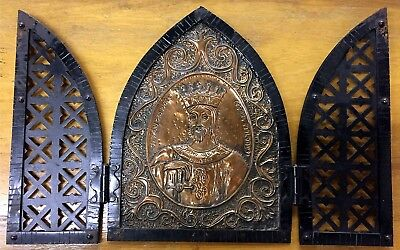 Vintage Hand Pounded 3 Piece Copper Icon Black Painted Copper Frame