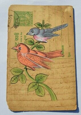 A Lovely Old Rajasthan Miniature Painted Indian Postcard Of Two Birds No 140