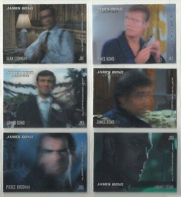 "2008 James Bond: In Motion LENTICULAR ""Complete Set"" of 6 Chase Cards (JB1-JB6)"
