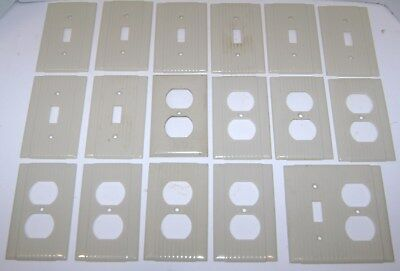 17 Vintage Ivory Uniline Ribbed Gang Switch Plate Covers Bakelite