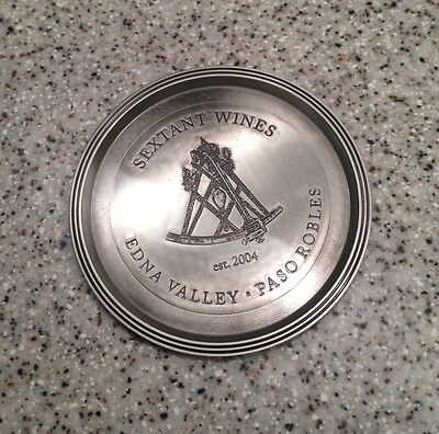 "SEXTANT WINERY Edna Valley Paso Robles CA 5 1/8"" Metal WINE BOTTLE COASTER"