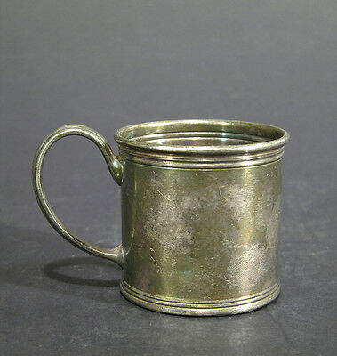 """1920 Gorham Silver Plate Baby Cup, Etched Helen Owen, Tarnished, 2 1/2"""""""