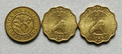PARAGUAY 10, 15, & 25 Centimos 1947 & 1953 - Lot of 3 Coins, No Reserve!