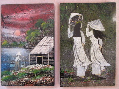 2 Vintage Vietnamese Eggshell Lacquer Inlaid Mosaic Paintings Lacquer Ware Wood