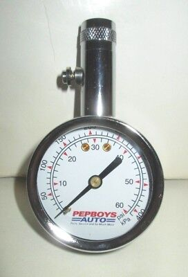 Pep Boys Manny Moe & Jack Auto Parts Handy Tire Pressure Gauge With 60 Psi Dial