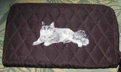 Q wallet GREY LONG HAIR CAT Quilted Fabric Zip Around Brown Wallet