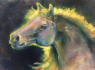 Original Oil Painting Equestrian horse west colts American art listed By Artist
