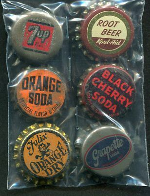 6 Cork Back Soda Bottle Caps 7up Root Beer Felix Orange Grapette Orange B Cherry