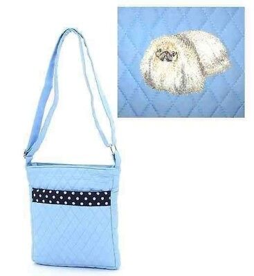 Q purse PEKINGESE Light Blue Quilted Microfiber Fabric Hipster Purse