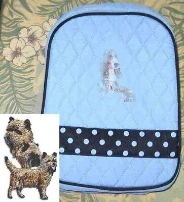 Q lunch CAIRN TERRIER Quilted LIGHT BLUE Insulated Fabric Lunch Sack