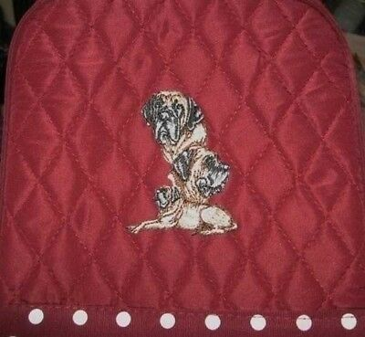 Q lunch ENGLISH MASTIFF Quilted BURGUNDY Insulated Fabric Lunch Sack Tote Bag