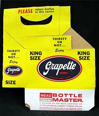 Old Grapette King Size Soda Pop Bottle 6 Pack Carrier Carton Unused Old Stock