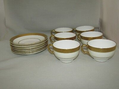 12 Minton Buckingham K159 Gold Trim Bone China Cups & Saucers